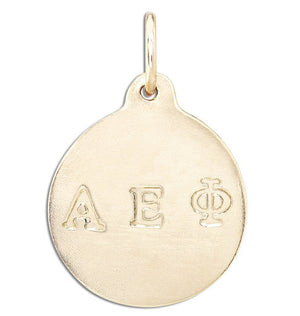 """Alpha Epsilon Phi"" Disk Charm Jewelry Helen Ficalora 14k Yellow Gold For Necklaces And Bracelets"