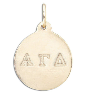 """Alpha Gamma Delta"" Disk Charm Jewelry Helen Ficalora 14k Yellow Gold For Necklaces And Bracelets"