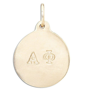 """Alpha Phi"" Disk Charm Jewelry Helen Ficalora 14k Yellow Gold For Necklaces And Bracelets"
