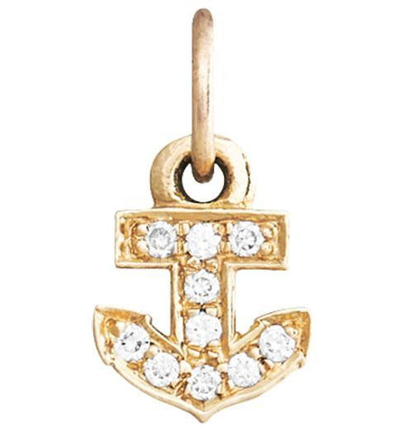 Anchor Mini Charm Pave Diamonds - 14k Yellow Gold - Jewelry - Helen Ficalora - 1