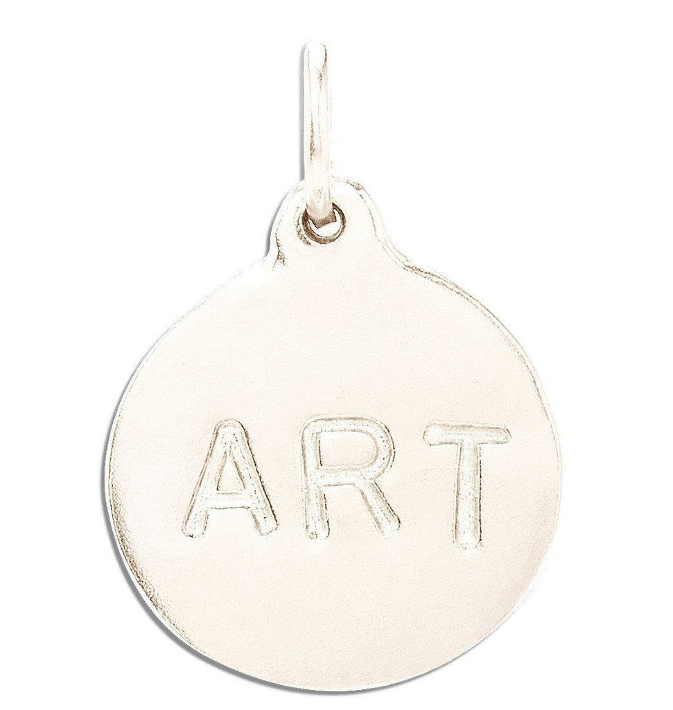 """Art"" Disk Charm Jewelry Helen Ficalora 14k White Gold"