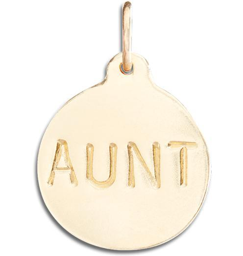 """Aunt"" Disk Charm - 14k Yellow Gold - Jewelry - Helen Ficalora - 1"