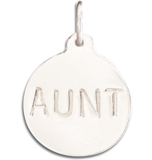 """Aunt"" Disk Charm - 14k White Gold - Jewelry - Helen Ficalora - 2"