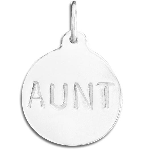 """Aunt"" Disk Charm - Sterling Silver - Jewelry - Helen Ficalora - 4"