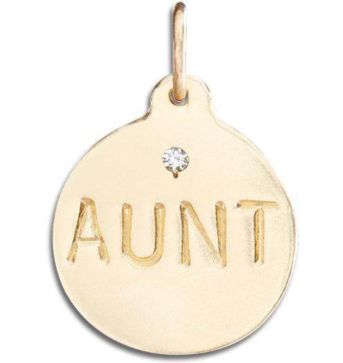 """Aunt"" Disk Charm With Diamond Jewelry Helen Ficalora 14k Yellow Gold For Necklaces And Bracelets"