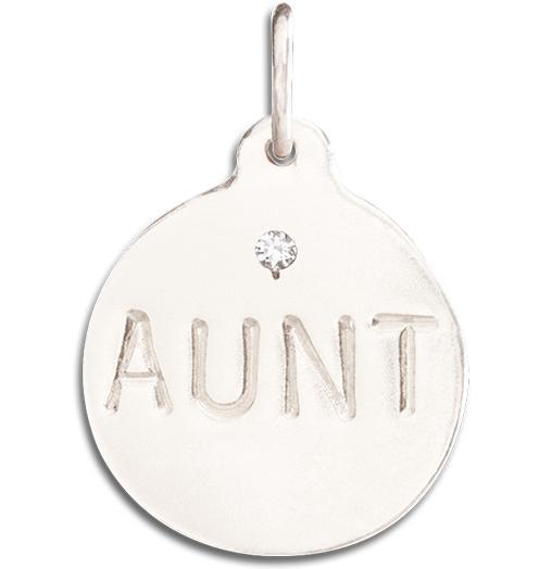 """Aunt"" Disk Charm With Diamond Jewelry Helen Ficalora 14k White Gold For Necklaces And Bracelets"