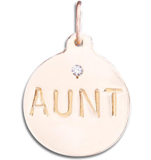 """Aunt"" Disk Charm With Diamond Jewelry Helen Ficalora 14k Pink Gold For Necklaces And Bracelets"