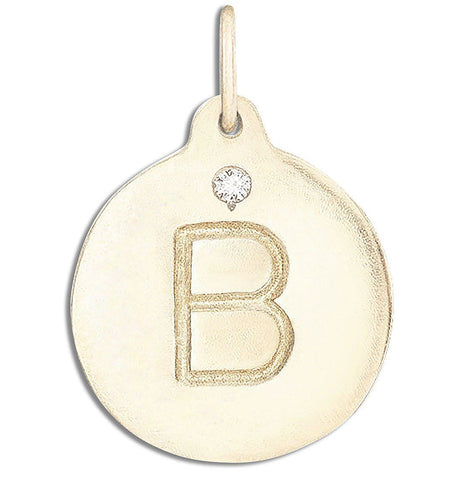"""B"" Alphabet Charm With Diamond Jewelry Helen Ficalora 14k Yellow Gold For Necklaces And Bracelets"