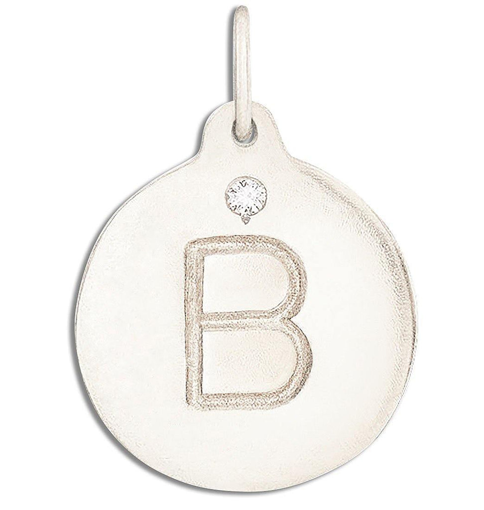 """B"" Alphabet Charm With Diamond Jewelry Helen Ficalora 14k White Gold For Necklaces And Bracelets"