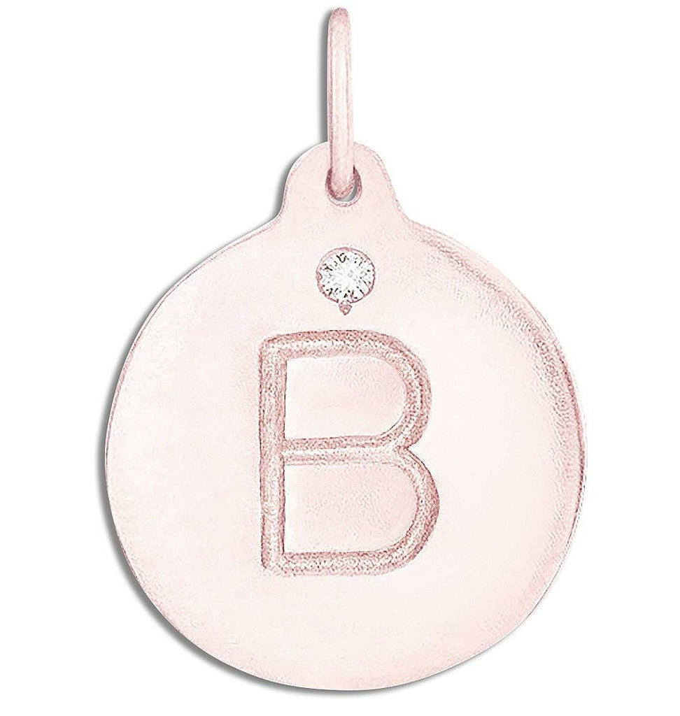 """B"" Alphabet Charm With Diamond Jewelry Helen Ficalora 14k Pink Gold For Necklaces And Bracelets"