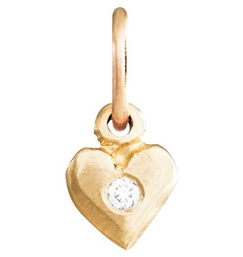 Baby Puffy Heart Charm with Diamond Jewelry Helen Ficalora 14k Yellow Gold