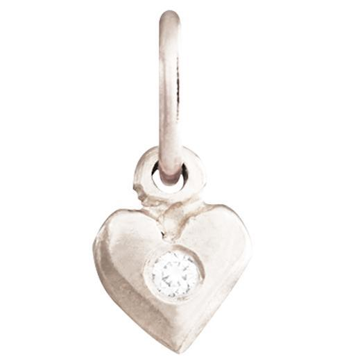 Baby Puffy Heart Charm with Diamond Jewelry Helen Ficalora 14k White Gold