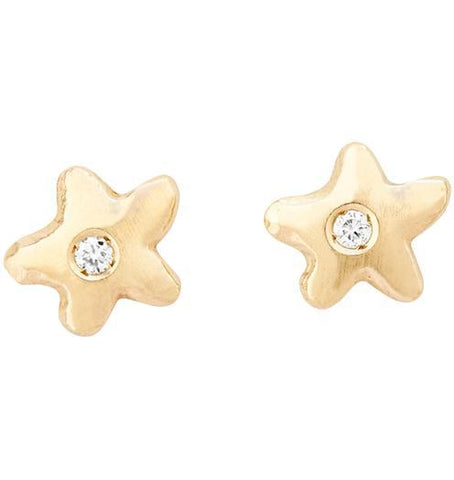 Baby Star Stud Earrings With Diamond - 14k Yellow Gold - Jewelry - Helen Ficalora - 1