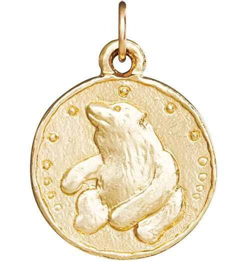 Bear Coin Charm - 14k Yellow Gold - Jewelry - Helen Ficalora - 1