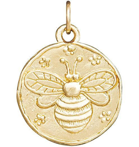 Bee Coin Charm - 14k Yellow Gold - Jewelry - Helen Ficalora - 1