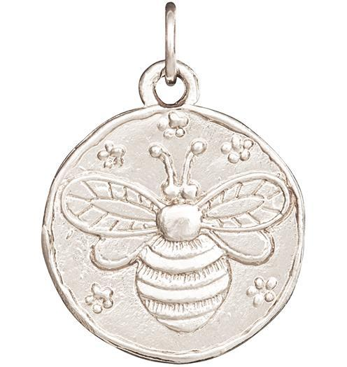 Bee Coin Charm - 14k White Gold - Jewelry - Helen Ficalora - 2