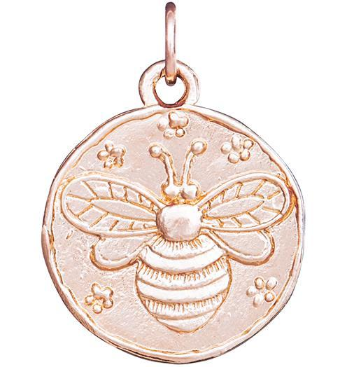 Bee Coin Charm - 14k Pink Gold - Jewelry - Helen Ficalora - 3