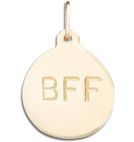 """BFF"" Disk Charm Jewelry Helen Ficalora 14k Yellow Gold For Necklaces And Bracelets"