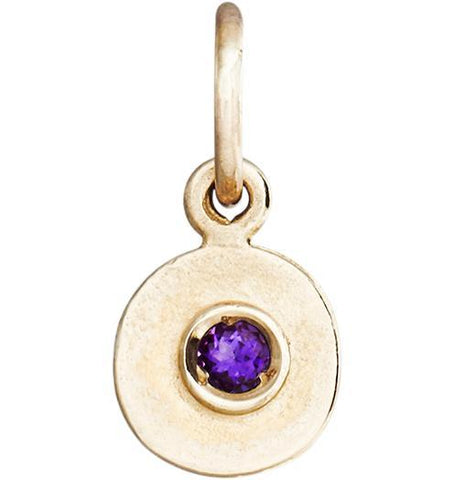 Birth Jewel Disk Charm With Amethyst - 14k Yellow Gold - Jewelry - Helen Ficalora - 1