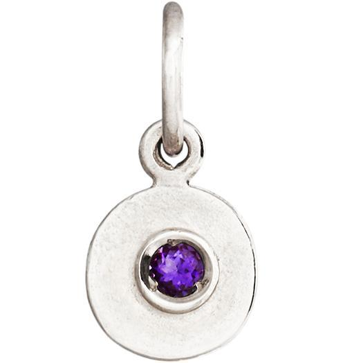 Birth Jewel Disk Charm With Amethyst - 14k White Gold - Jewelry - Helen Ficalora - 2