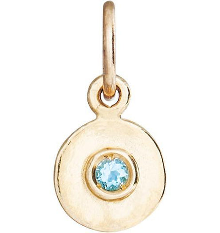 Birth Jewel Disk Charm With Aquamarine - 14k Yellow Gold - Jewelry - Helen Ficalora - 1