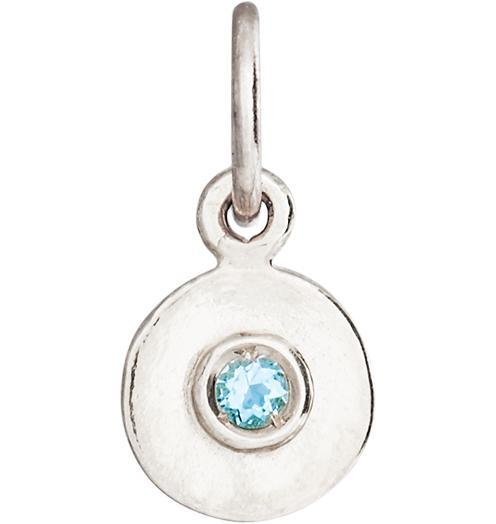 Birth Jewel Disk Charm With Aquamarine - 14k White Gold - Jewelry - Helen Ficalora - 2