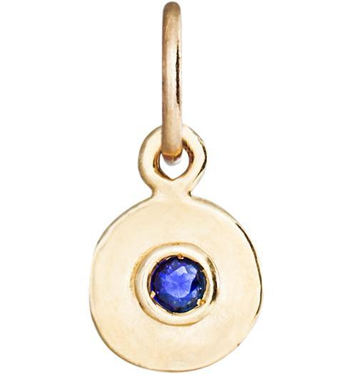 Birth Jewel Mini Disk Charm With Blue Sapphire - 14k Yellow Gold - Jewelry - Helen Ficalora - 1