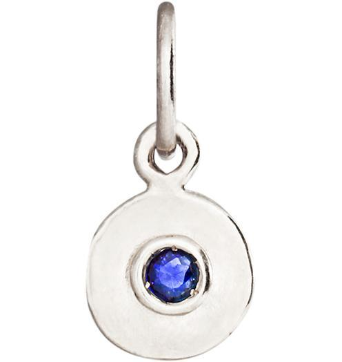 Birth Jewel Mini Disk Charm With Blue Sapphire Jewelry Helen Ficalora 14k White Gold For Necklaces And Bracelets
