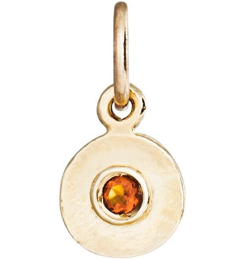 Birth Jewel Mini Disk Charm With Citrine - 14k Yellow Gold - Jewelry - Helen Ficalora - 1