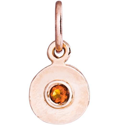Birth Jewel Mini Disk Charm With Citrine - 14k Pink Gold - Jewelry - Helen Ficalora - 3
