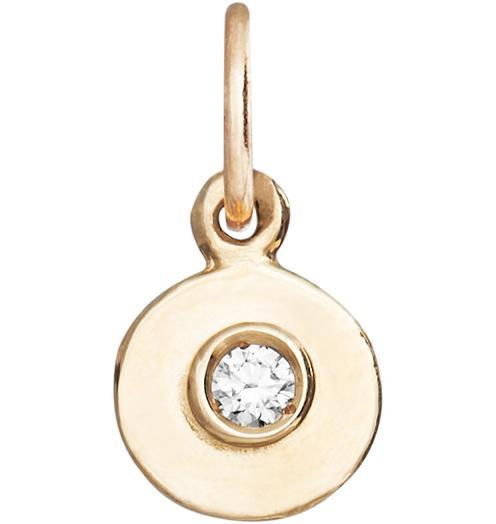 Birth Jewel Disk Charm With Diamond - 14k Yellow Gold - Jewelry - Helen Ficalora - 1