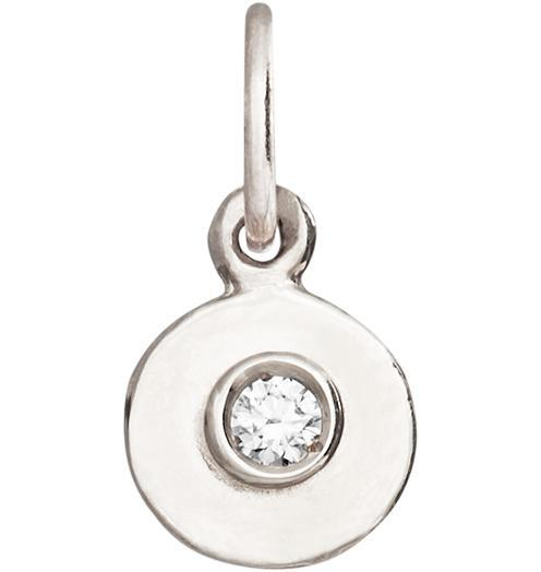 Birth Jewel Disk Charm With Diamond - 14k White Gold - Jewelry - Helen Ficalora - 2