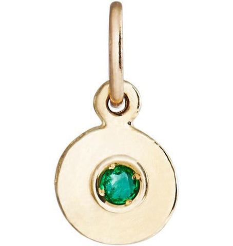 Birth Jewel Disk Charm With Emerald - 14k Yellow Gold - Jewelry - Helen Ficalora - 1