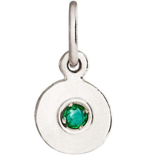 Birth Jewel Disk Charm With Emerald - 14k White Gold - Jewelry - Helen Ficalora - 2