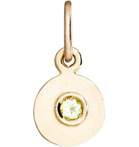 Birth Jewel Disk Charm With Peridot - 14k Yellow Gold - Jewelry - Helen Ficalora - 1
