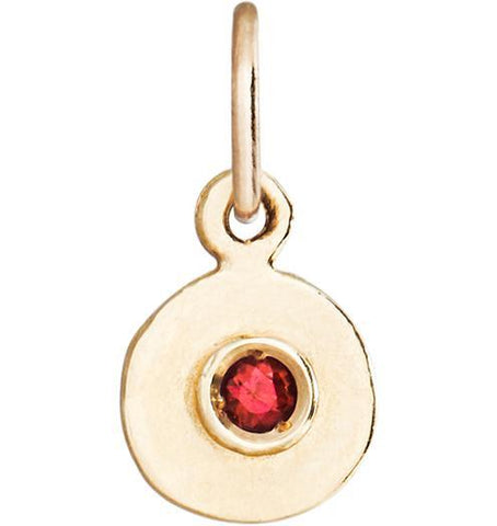 Birth Jewel Disk Charm With Ruby - 14k Yellow Gold - Jewelry - Helen Ficalora - 1