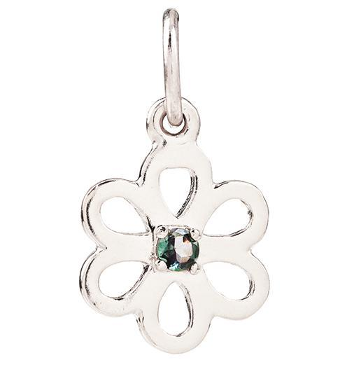 Birth Jewel Flower Charm With Alexandrite - 14k White Gold - Jewelry - Helen Ficalora - 2