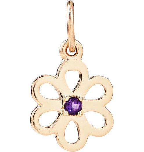 Birth Jewel Flower Charm With Amethyst - 14k Yellow Gold - Jewelry - Helen Ficalora - 1
