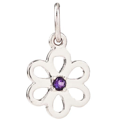 Birth Jewel Flower Charm With Amethyst - 14k White Gold - Jewelry - Helen Ficalora - 2