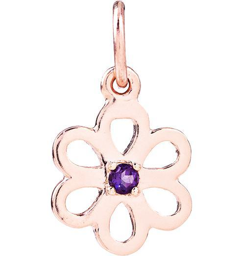 Birth Jewel Flower Charm With Amethyst - 14k Pink Gold - Jewelry - Helen Ficalora - 3