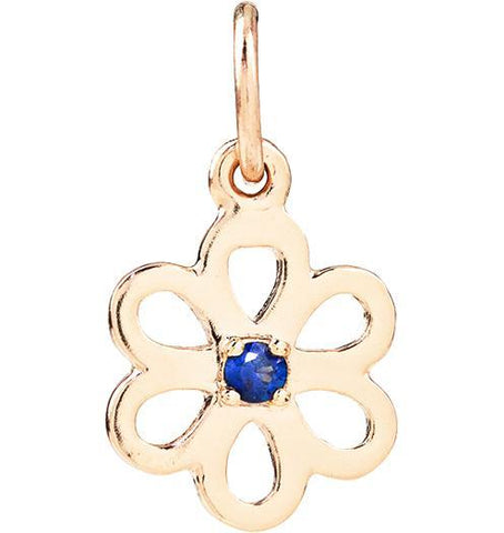 Birth Jewel Flower Charm With Blue Sapphire - 14k Yellow Gold - Jewelry - Helen Ficalora - 1