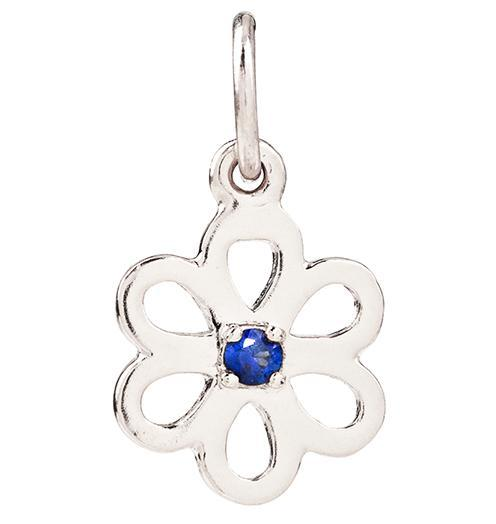 Birth Jewel Flower Charm With Blue Sapphire - 14k White Gold - Jewelry - Helen Ficalora - 2