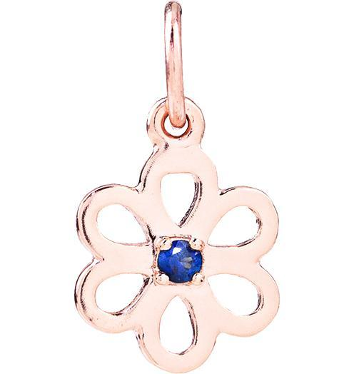 Birth Jewel Flower Charm With Blue Sapphire Jewelry Helen Ficalora 14k Pink Gold