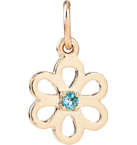 Birth Jewel Flower Charm With Blue Zircon - 14k Yellow Gold - Jewelry - Helen Ficalora - 1