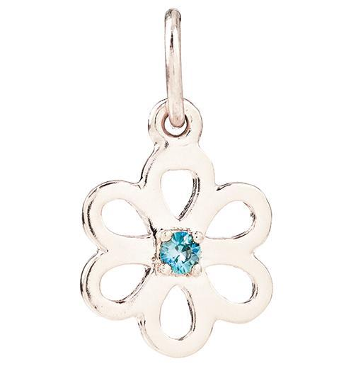 Birth Jewel Flower Charm With Blue Zircon Jewelry Helen Ficalora 14k White Gold