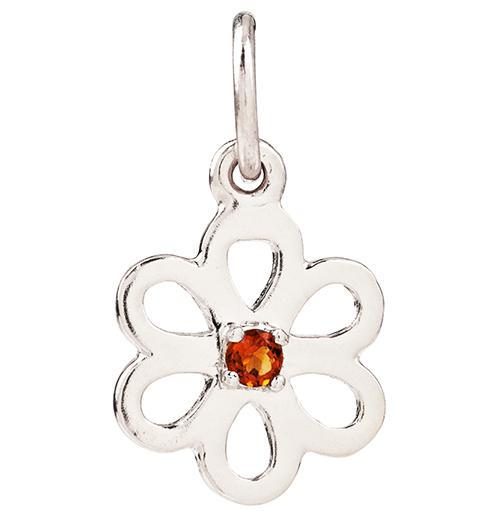 Birth Jewel Flower Charm With Citrine - 14k White Gold - Jewelry - Helen Ficalora - 2