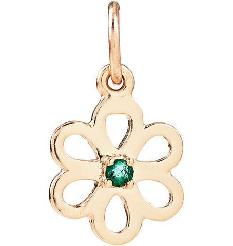 Birth Jewel Flower Charm With Emerald - 14k Yellow Gold - Jewelry - Helen Ficalora - 1