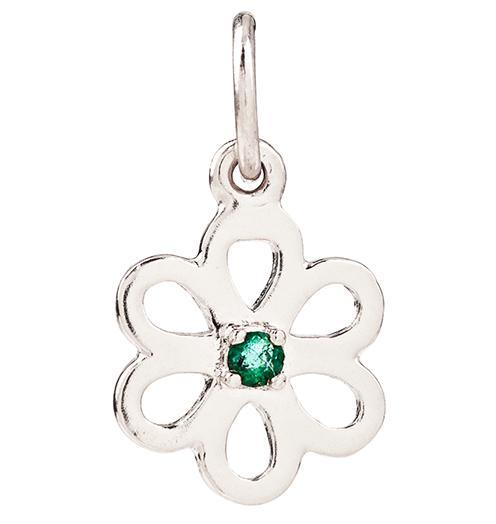 Birth Jewel Flower Charm With Emerald - 14k White Gold - Jewelry - Helen Ficalora - 2