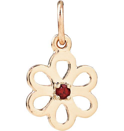 Birth Jewel Flower Charm With Garnet - 14k Yellow Gold - Jewelry - Helen Ficalora - 1