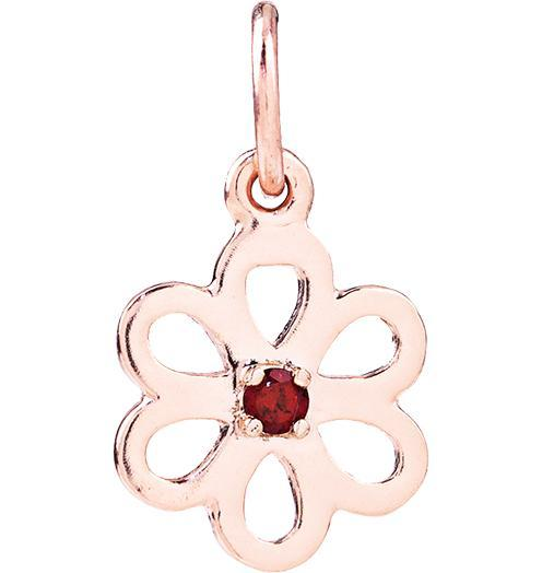 Birth Jewel Flower Charm With Garnet - 14k Pink Gold - Jewelry - Helen Ficalora - 3